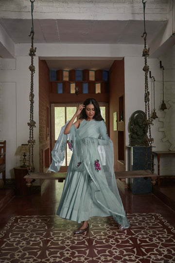 Powder Blue Gulabh Anarkali with Organza Phool Dupatta - WaliaJones