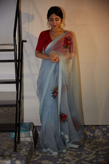 Powder Blue Gulabh Saree - WaliaJones
