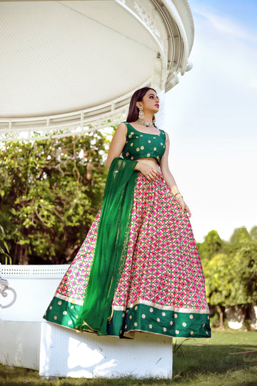 Candy Pink and Green Lehenga Set - WaliaJones