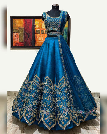 Teal Raw Silk Bridal Lehenga Set