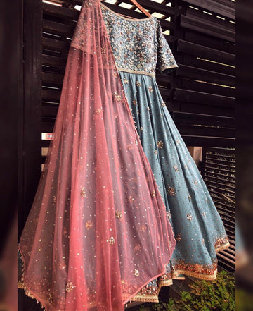 Powder Blue & Pink Anarkali Set - WaliaJones