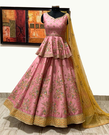 Pink & Mustard Raw Silk Bridal Lehenga Set