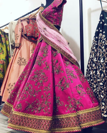 Pink Dutchess Satin Lehenga Set