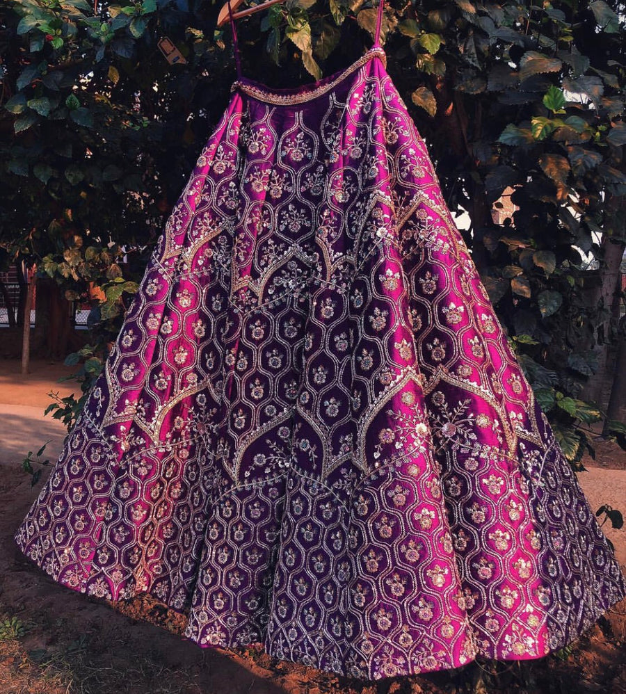 Royal Pink Raw Silk Bridal Lehenga - WaliaJones