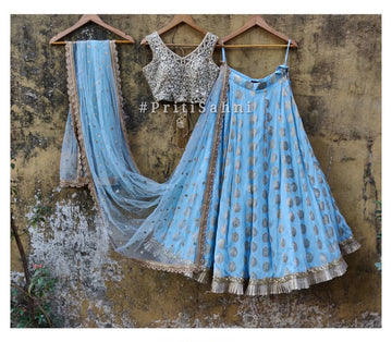 Powder Blue & Gold Lehenga & Mirror Blouse - WaliaJones