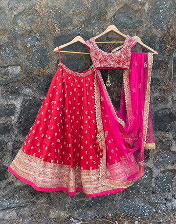 Red and pink bridal lehenga set