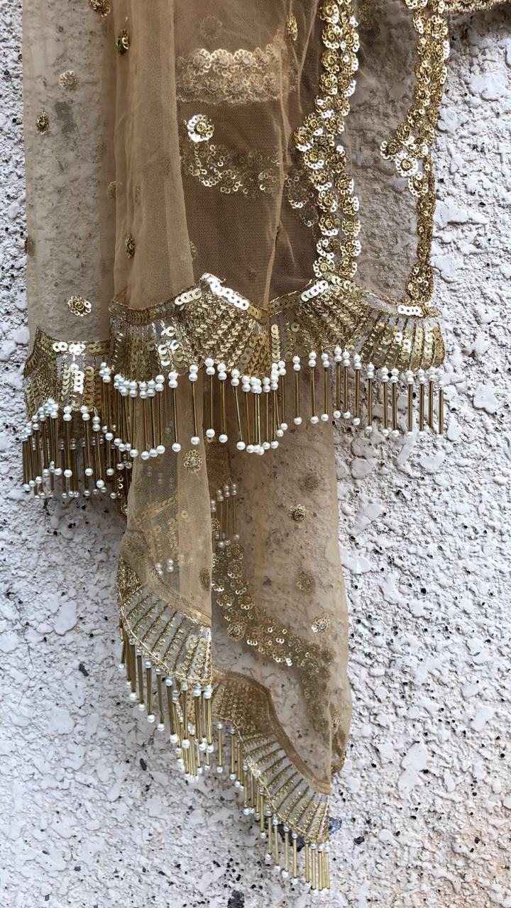 Gold Scalloped Dupatta - WaliaJones