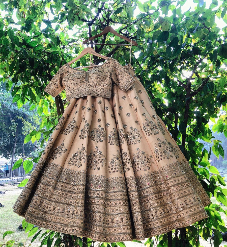 Beige Sand Raw Silk Lehenga Set