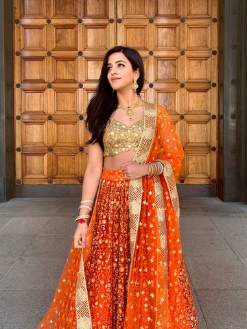 Orange & Gold Threadwork Lehenga