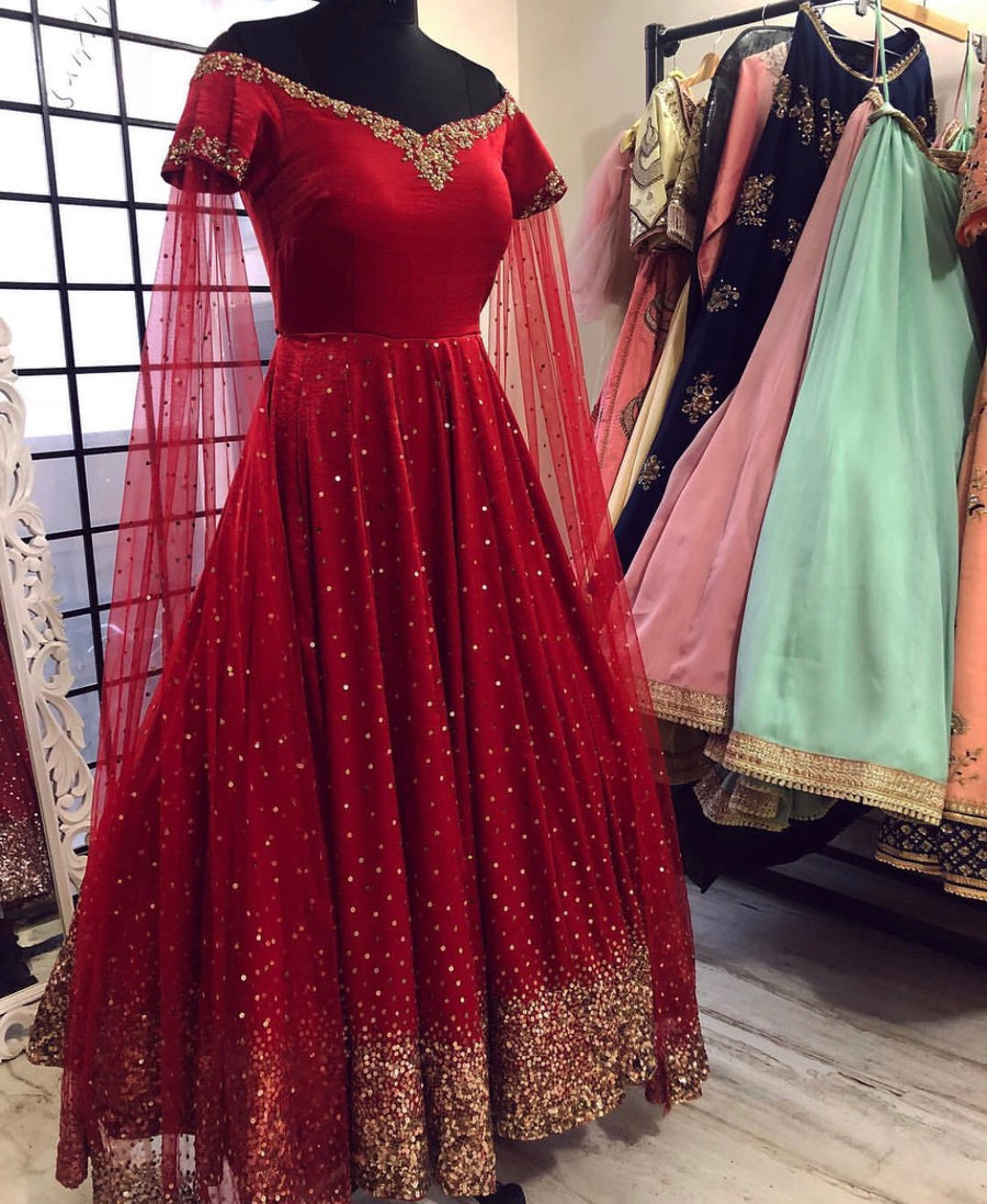 Red Sparkle Anarkali Gown - WaliaJones