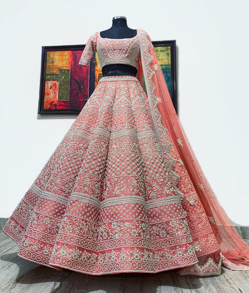 Mirella Bridal Peach Pink Raw Silk Lehenga Set