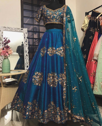 Teal Bridal Raw Silk Lehenga Set - WaliaJones
