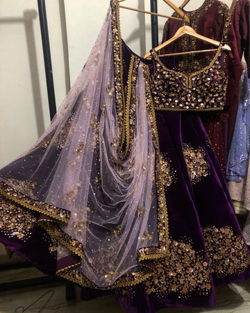 Deep Purple Velvet Zardosi Lehenga Set