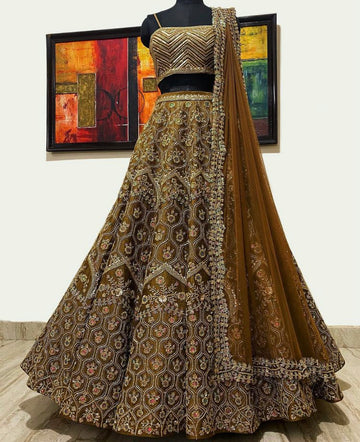 Yazmine Hazelnut Raw Silk Lehenga Set