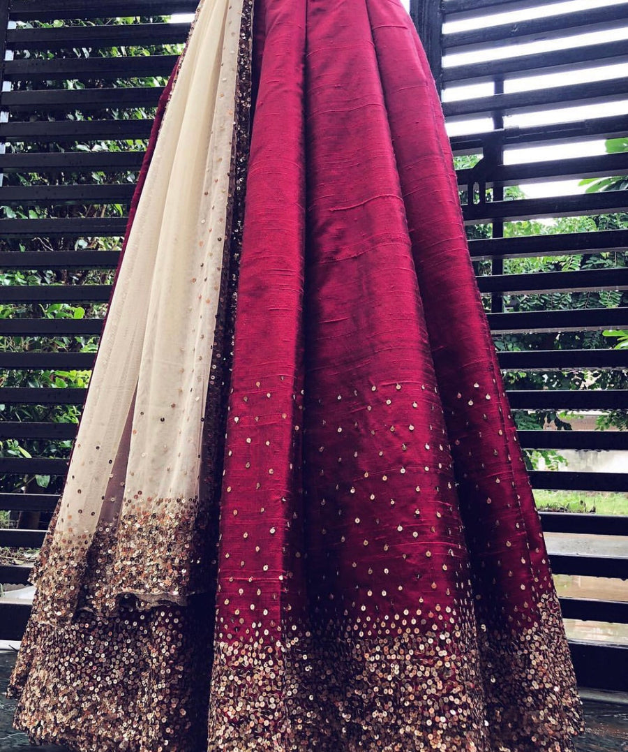 Wine Red Raw Silk Lehenga Set - WaliaJones