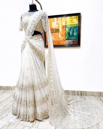 White Bridal Saree Set