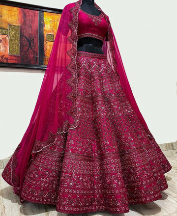 Pink Raw Silk Bridal Lehenga Set