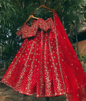 Red Raw Silk Lehenga Set