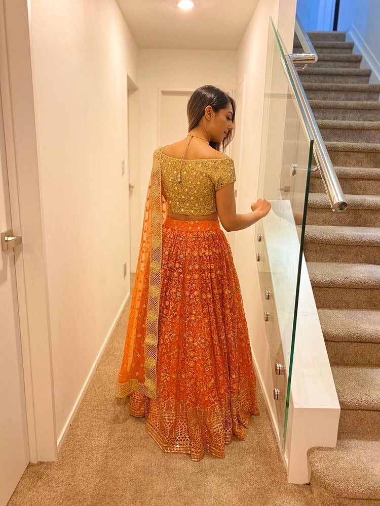 Orange & Gold Threadwork Lehenga - WaliaJones