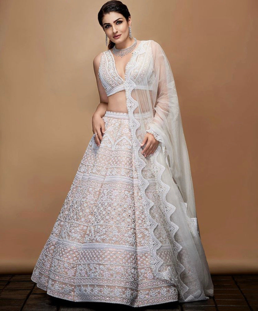 Mirella Bridal Ivory Raw Silk Lehenga Set