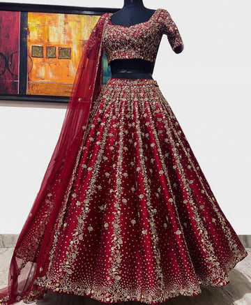 Deep Berry Red Raw Silk Lehenga Set
