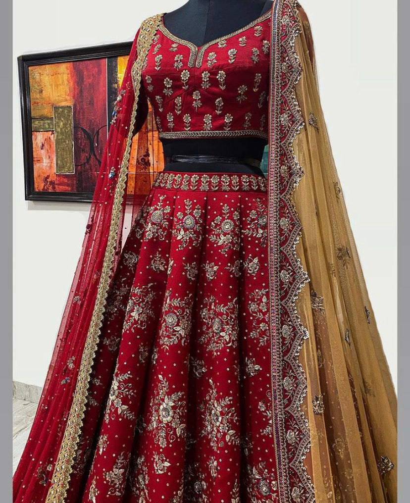 Red Bridal Lehenga Set with Two Dupattas