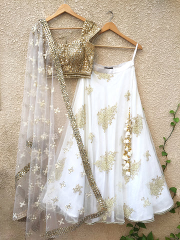 Gold Mirror Work & White Lehenga Set - WaliaJones