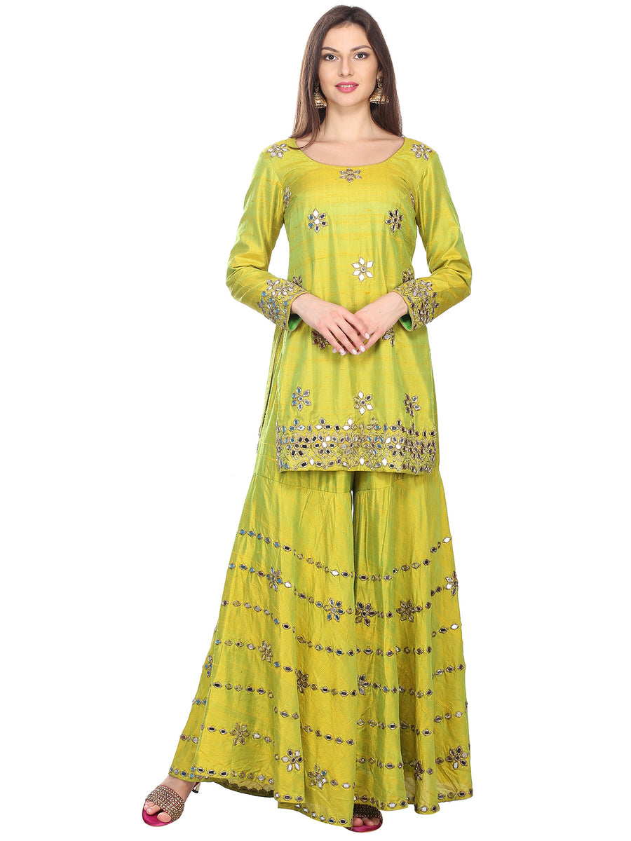 Vinaya Mirror Work Sharara Set - Express (Size XS) - WaliaJones