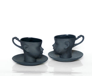 DOLL HEAD cup with saucer  in black - Decoriia