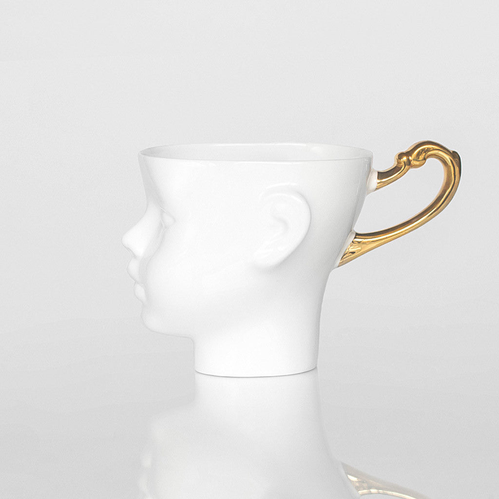 DOLL HEAD mug with golden handle - Decoriia