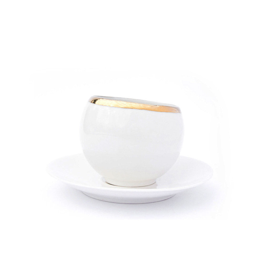 SPHERE white cup with saucer - Decoriia