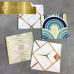 Samples: 4pc (assorted) Tile decals for kitchen, bathroom wall, backsplash - Decoriia