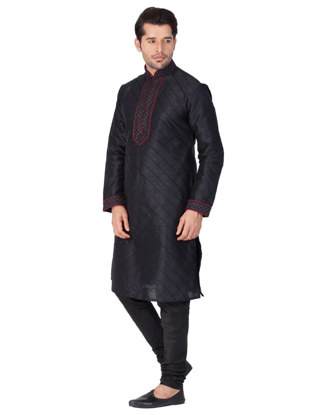 Vastramay Men and Boys Black Cotton Silk Kurta and Pyjama Set