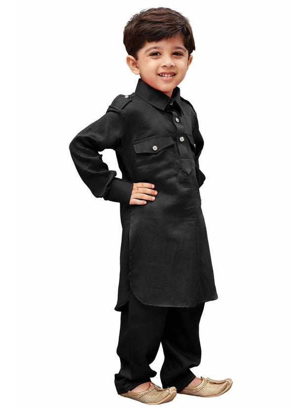 Vastramay Men and Boys Black Cotton Pathani Khan Suit Set