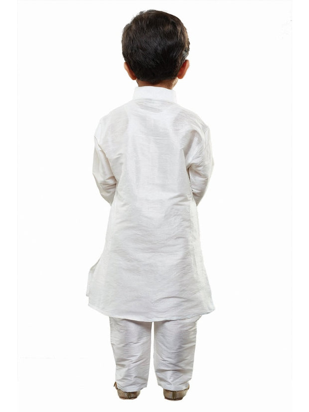 Vastramay Men and Boys White Cotton Silk Kurta and Pyjama Set