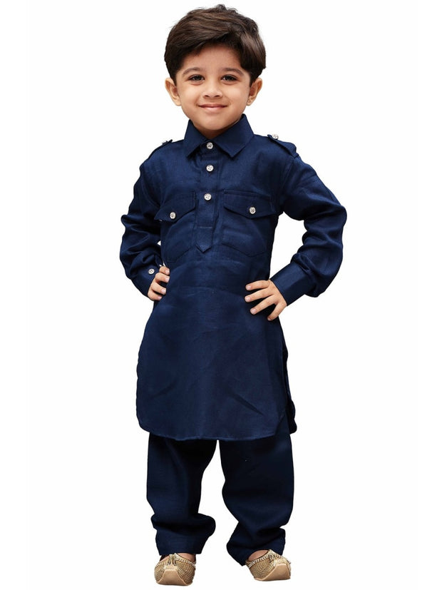 Vastramay Men and Boys Blue Cotton Pathani Khan Suit Set
