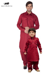 Vastramay Men and Boys Maroon Cotton Pathani Khan Suit Set
