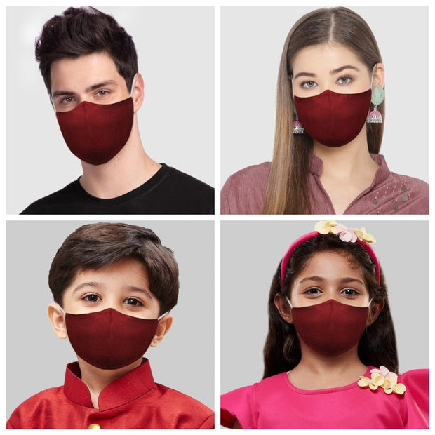 Vastramay Unisex 3 -Ply Solid Reusable Anti-Pollution Comfortable Half Face, Ear Loop Cotton Welness Mask