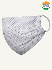 Vastramay Unisex 2 -Ply Polka Dot Printed Reusable Anti-Pollution Comfortable Half Face, Ear Loop Cotton Welness Mask
