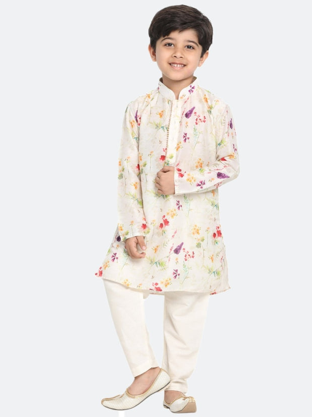 Vastramay Men and Boys Cream Cotton Blend Kurta and Pyjama Set