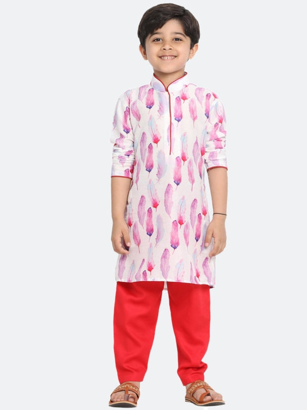 Vastramay Men and Boys Pink Cotton Blend Kurta and Pyjama Set