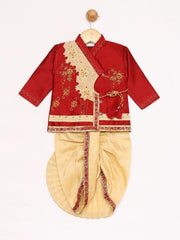 JBN Creation Boys' Maroon Silk Blend Kurta and Dhoti Pant Set