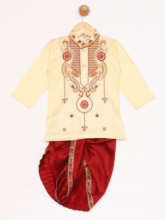 JBN Creation Boys' Gold Silk Blend Kurta and Dhoti Pant Set