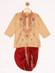 JBN Creation Boys' Rose Gold Silk Blend Kurta and Dhoti Pant Set