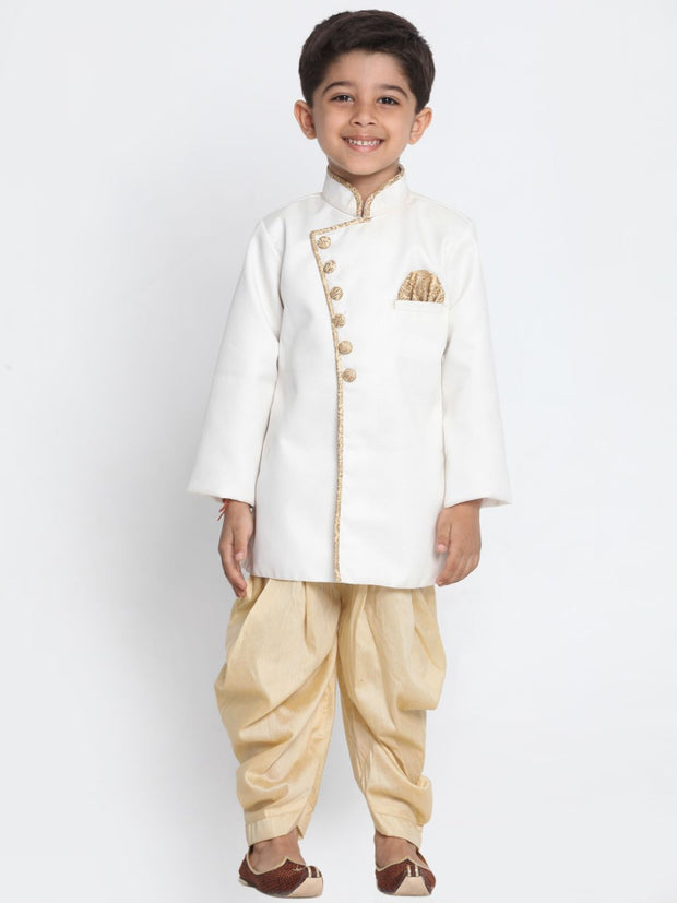 Boys' White Cotton Silk Blend Kurta and Pyjama Set