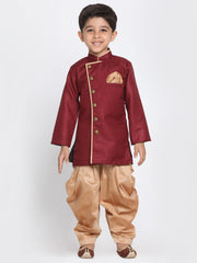 Boys' Maroon Cotton Silk Blend Kurta and Pyjama Set