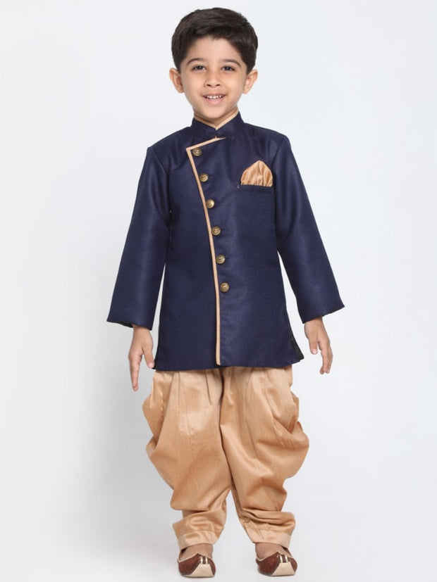 Boys' Deep Blue Cotton Silk Blend Kurta and Pyjama Set
