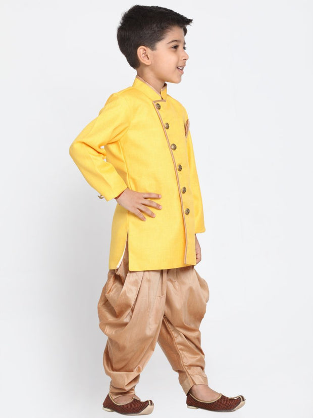 Boys' Yellow Cotton Silk Blend Kurta and Pyjama Set