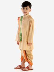 JBN Creation Boys' Rose Gold Cotton Blend Kurta Dhoti and Dupatta Set