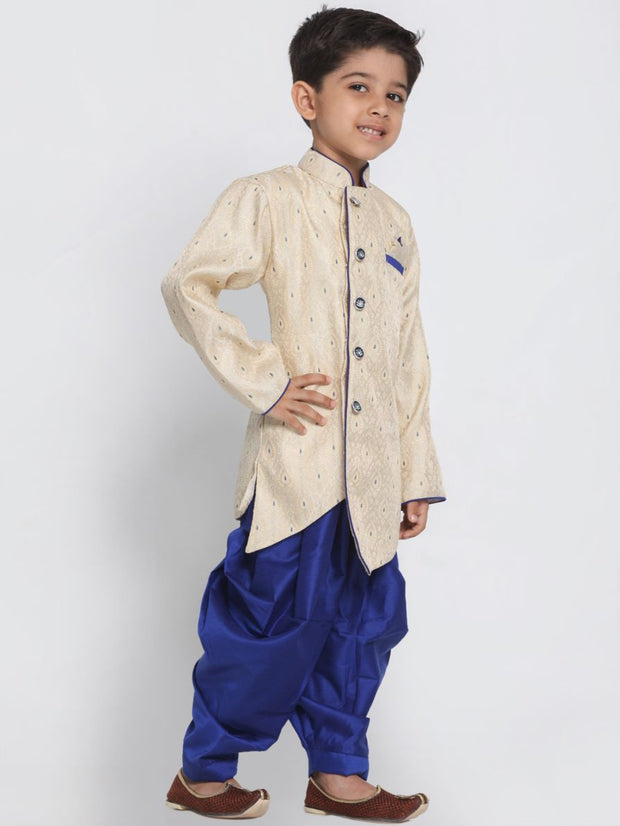 Blue Cotton Silk Blend Kurta and Dhoti Pant Set